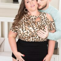 Overweight chick Leona Loba is stripped down to her heels before being banged