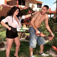 Big titted brunette Arianna Sinn seduces the gardener before they have sex in the yard