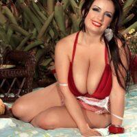 Brunette MILF Arianna Sinn sets her huge boobs free while having picnicking outdoors