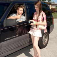 Barely legal redhead Kyle Clover has sex with a guy after being picked up on the road